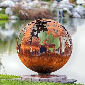 """Up North 37"""" DYO Fire Pit Sphere  Choose Three animal scenes"""