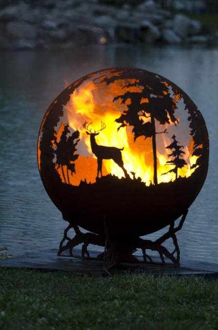 """Beautiful 'Up North' 37"""" Deer Fire Pit Sphere"""