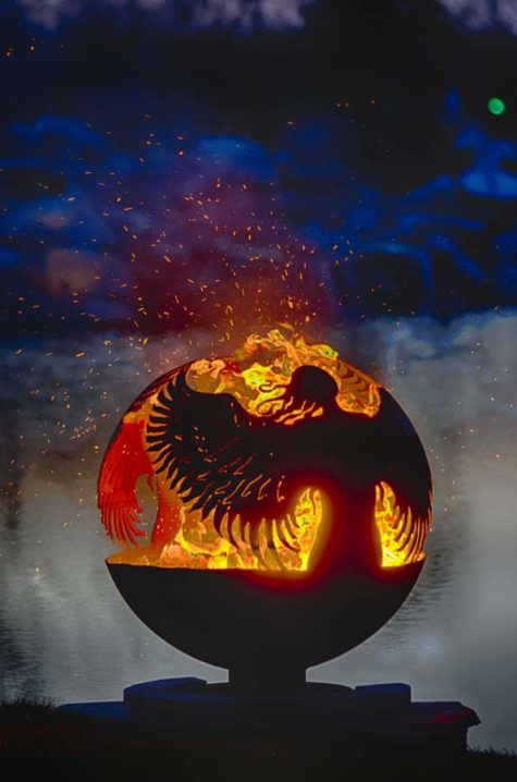 "Hidden 37"" Angel Fire Pit Sphere"