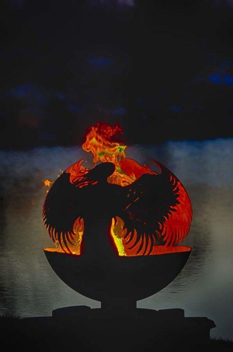 "Hidden Angel Fire Pit Sphere 37"""