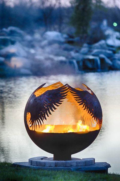 "Hidden 37"" Angel Fire Pit Sphere"