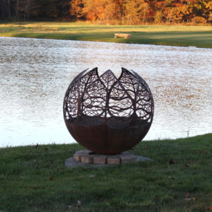 Autumn Sunset Leaf Fire Pit Sphere