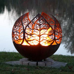Autumn Sunset Leaf Fire Pit Sphere