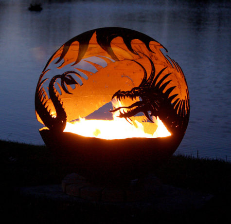 "Pendragon's Hearth 37"" Sphere Dragon Fire Pit"