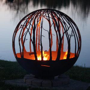 """Winter Woods - Birch Tree fire pit sphere 37"""""""
