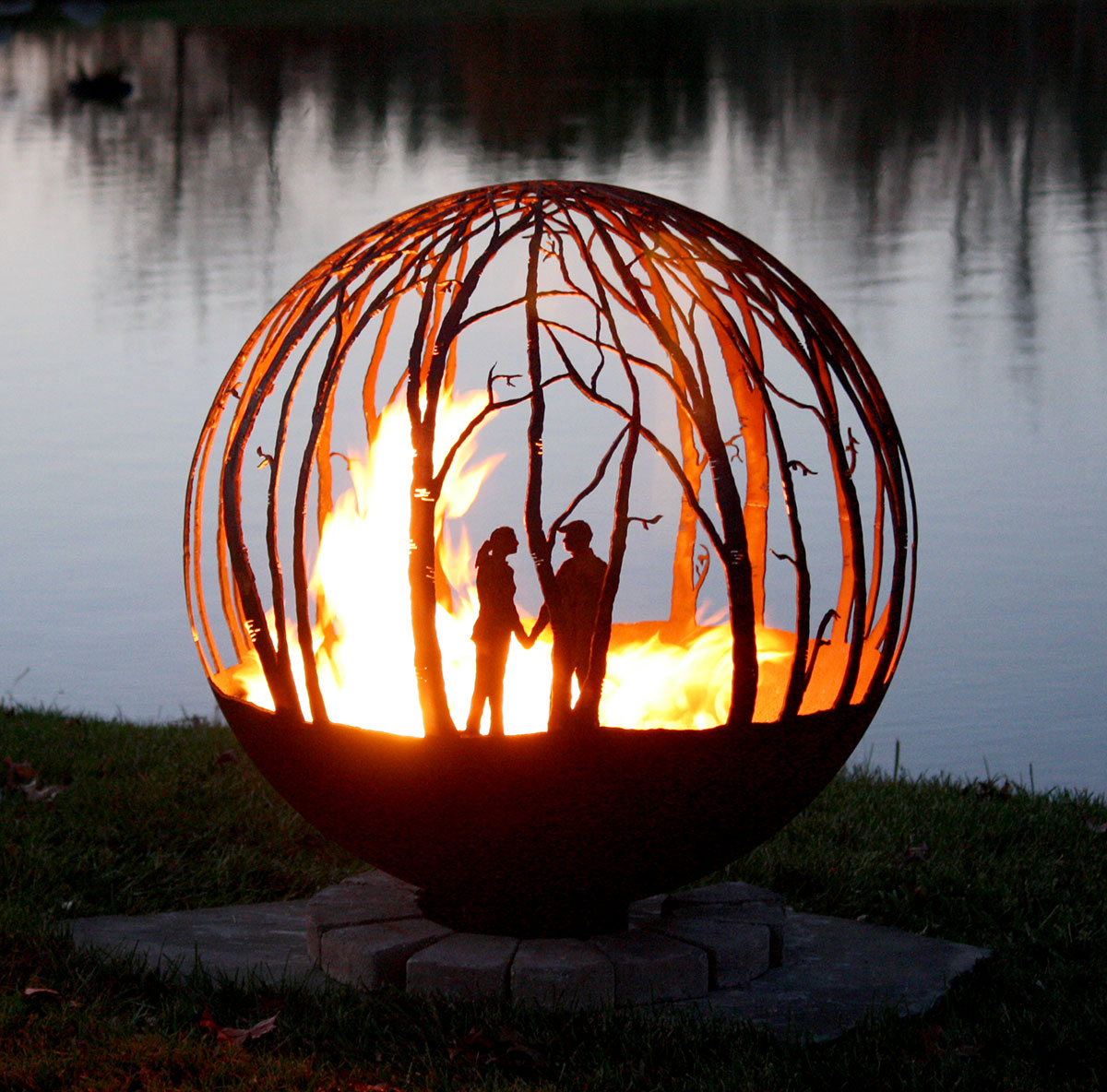 "Winter Woods - Birch Tree fire pit sphere 37"" - Winter Woods Fire Pit Sphere Design Your Own"