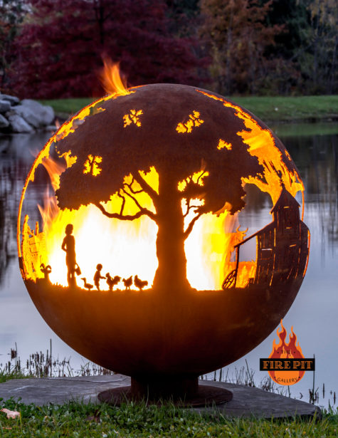 Appel Crisp Farms Fire Pit Sphere 02 - Animals-chicken-duck-goat-child-feeding - The Fire Pit Gallery