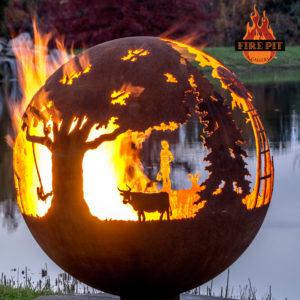 Appel Crisp Farms Fire Pit Sphere 03 - Cow Dexter Swing The Fire Pit Gallery