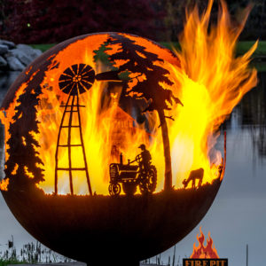 Appel Crisp Farms Fire Pit Sphere 06 - tractor-farmer-windmill-goat - The Fire Pit Gallery