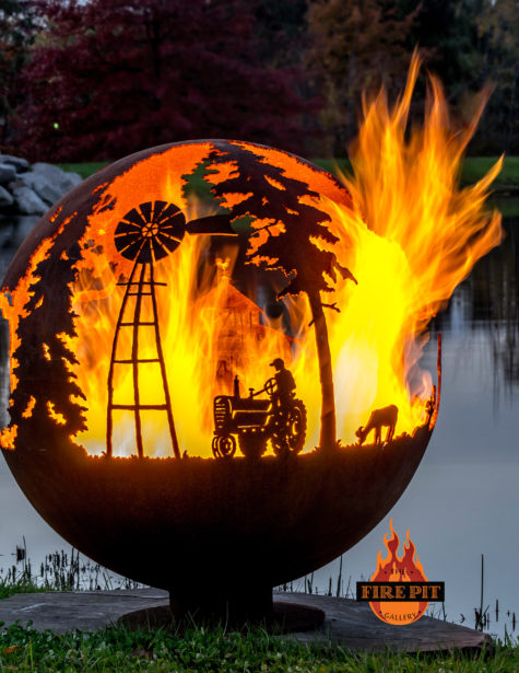 Appel Crisp Farms Fire Pit Sphere 06 - tractor-farmer-windmill-goat - The Fire Pit Gallery