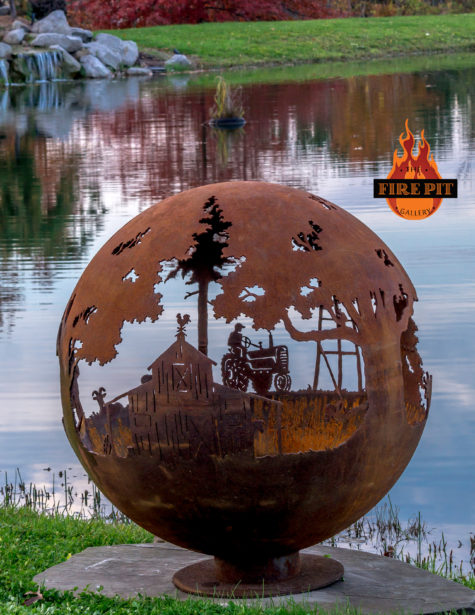 Appel Crisp Farms Fire Pit Sphere 07 - Unlit-tractor-farmer-barn-weather-vane-The Fire Pit Gallery