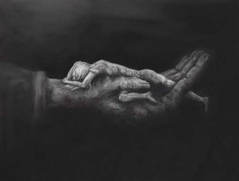 Woman in Gods Hand - Charcoal Giclee by Melissa Crisp
