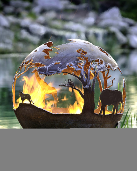 African_Safari_Fire_Pit_Sphere_lion_elephant_4