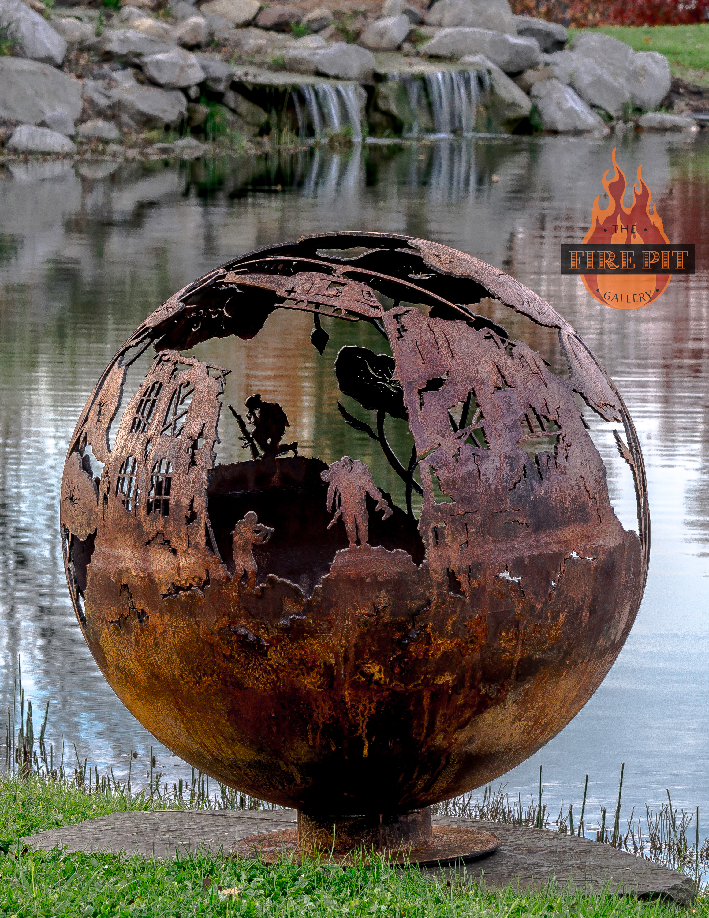Lest We Forget Remembrance Day Fire Pit Sphere The