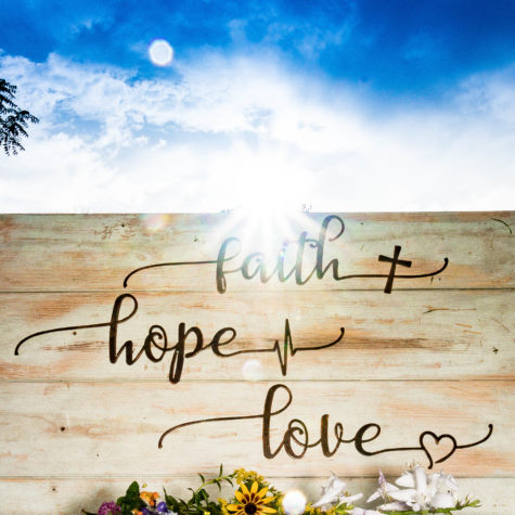 Faith Hope Love Metal Wall Art