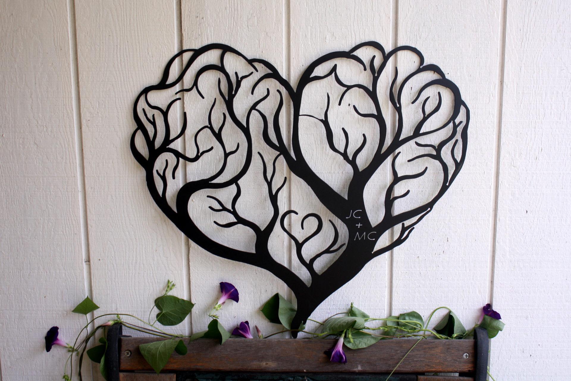 Metal Tree Wall Art Gallery: Custom Heart Tree Metal Wall Art Sign
