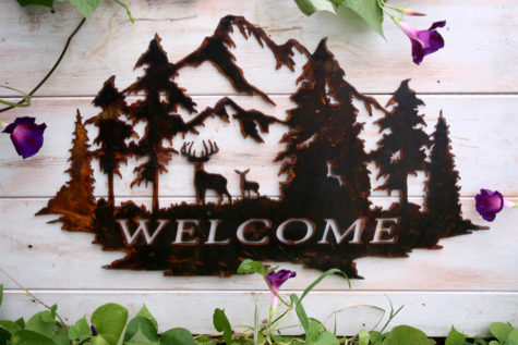 Welcome Sign with Deer and Trees 1