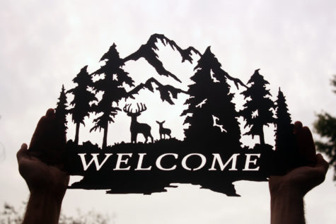 Welcome Sign with Deer and Trees 2
