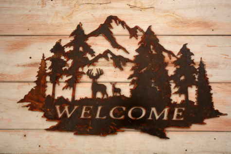 Welcome Sign with Deer and Trees 3