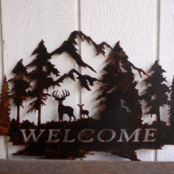 Welcome Sign with Deer and Trees 4