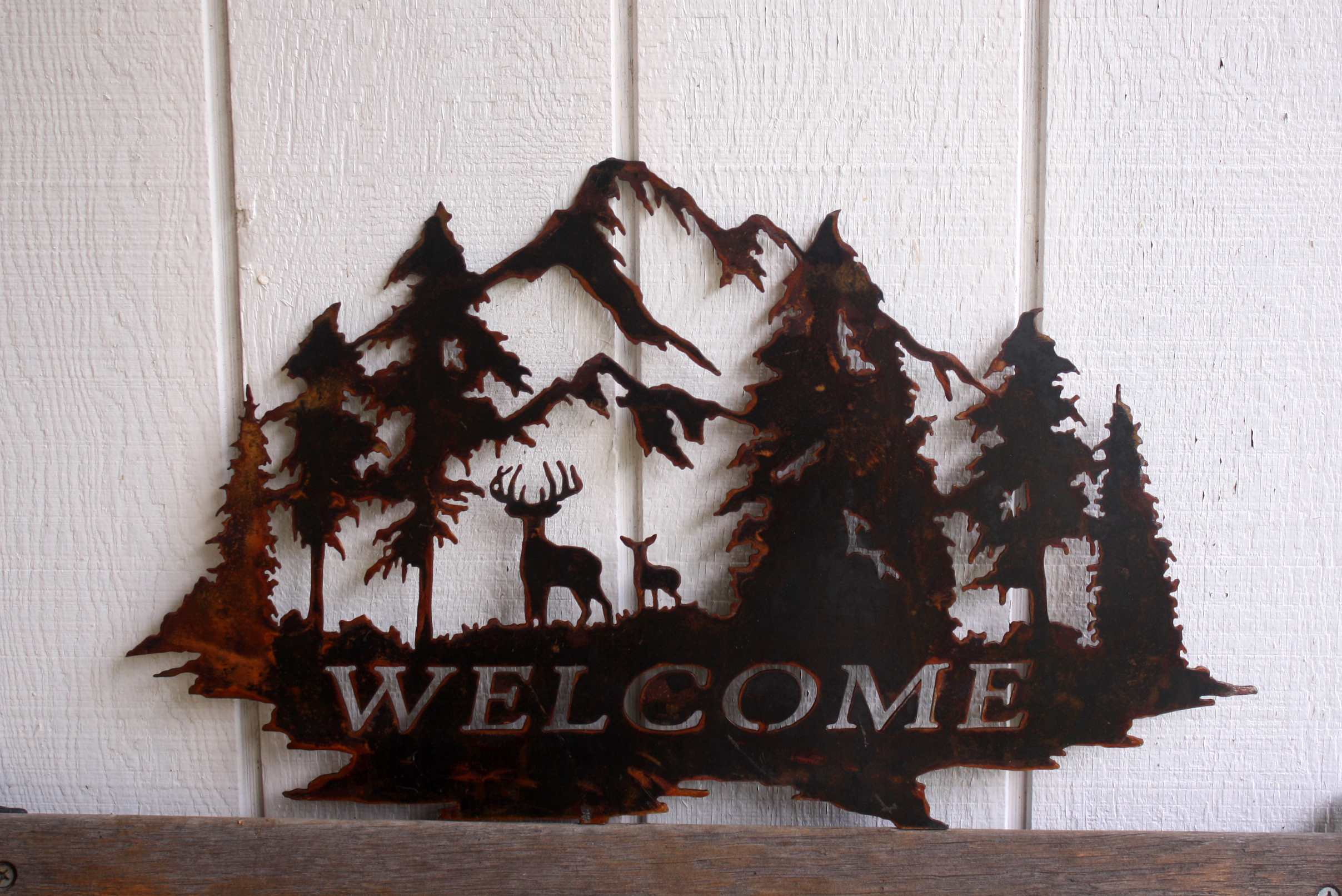 Welcome Sign Up North Deer Personalized 23 Inch Custom Metal Wall Art