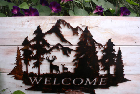Welcome Sign with Deer and Trees 5