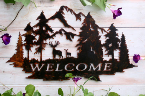 Welcome Sign with Deer and Trees 6