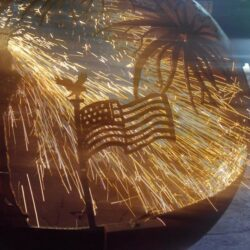 American Flag 4th of july firepit