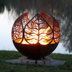 autumn leaves fire pit design